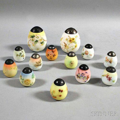 Thirteen Mount Washington Glass Flat-bottom Egg Shakers