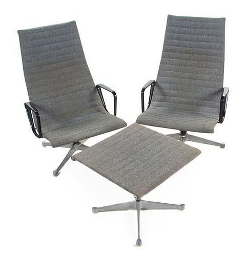 Two Charles and Ray Eames Aluminum Group Lounge Chairs and Ottoman, for Herman Miller, Height 39 3/4 inches.