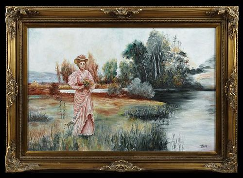 """J. Grima, """"Lady Picking Wildflowers by the River,"""""""