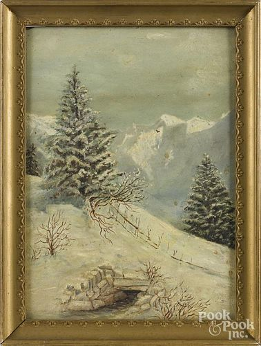 American oil on board winter landscape, ca. 1900, 12'' x 9''.