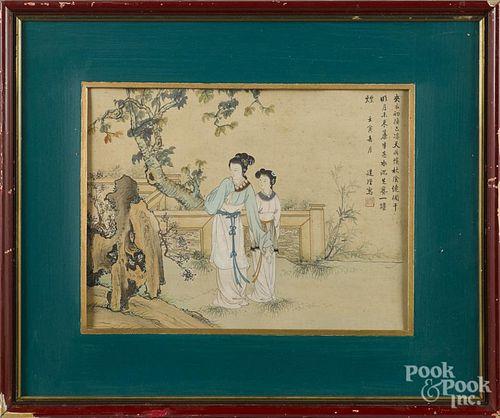 Pair of Japanese watercolors, ca. 1900, 12'' x 15 1/2''.