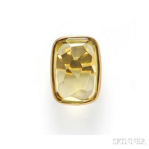 18kt Gold and Lemon Quartz Ring, Adelline
