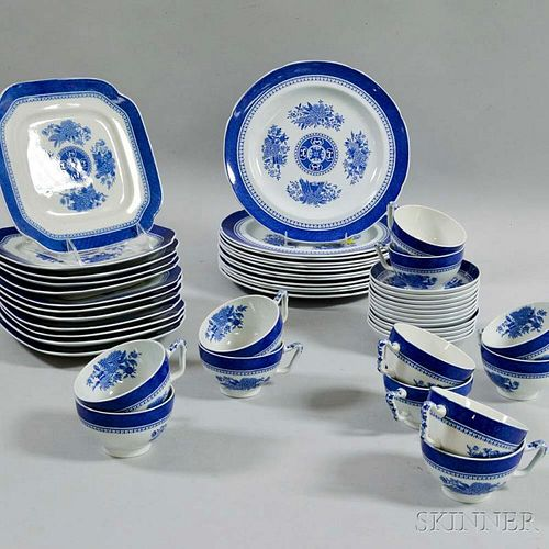 """Forty-eight Pieces of Copeland Spode Blue """"Fitzhugh"""" Tableware Items"""