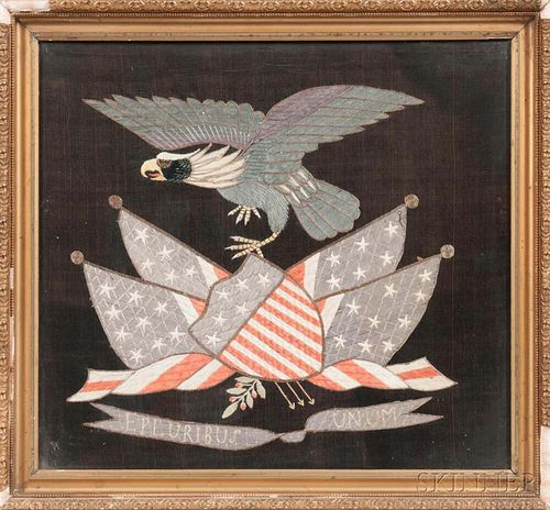 Framed Patriotic Silk Embroidered Picture