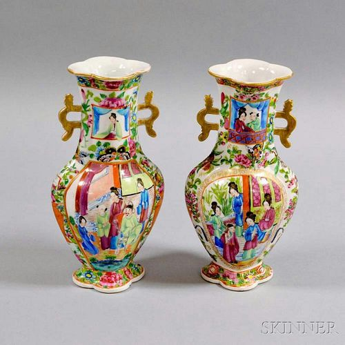 Pair of Famille Rose Porcelain Double-handled Vases