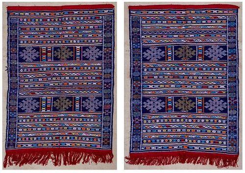 "Pair of Vintage Moroccan Kilims: 3'9"" x 5'6"" (115 x 167 cm)"