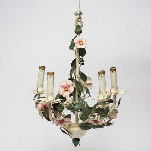 Toleware Floral Chandelier, Vintage, with 5 Arms