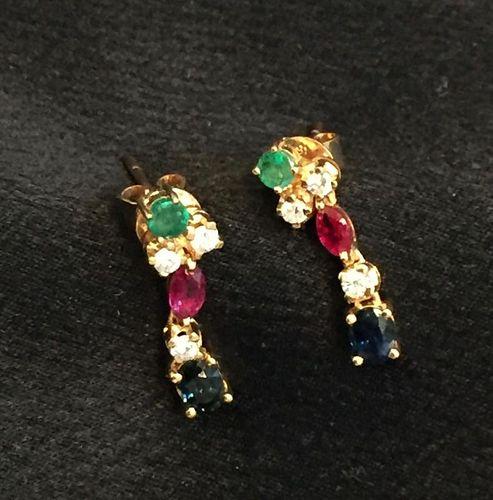 18K YELLOW GOLD, EMERALD, BLUE SAPPHIRE AND DIAMOND PIERCED EARRINGS.