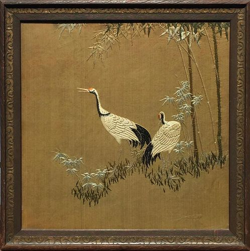 A FINE CHINESE ANTIQUE EMBROIDERED PANEL