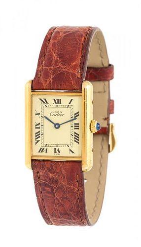 A Gilt Silver 'Tank' Wristwatch, must de Cartier,