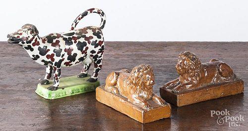 Pair of salt glaze stoneware lions
