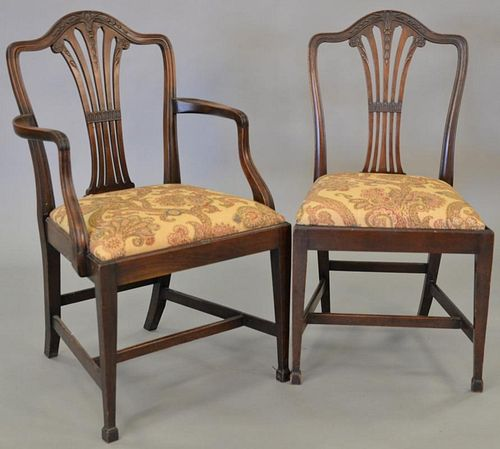 Set of ten mahogany Federal style dining chairs, two arm and eight side.