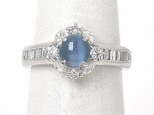 Platinum Diamond Oval Cabochon Blue Cat's Eye Ring