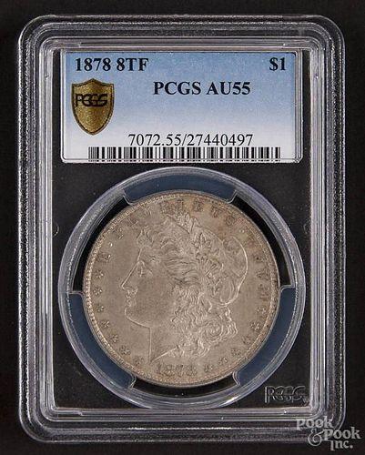 Silver Morgan dollar, 1878 8TF, PCGS AU-55.