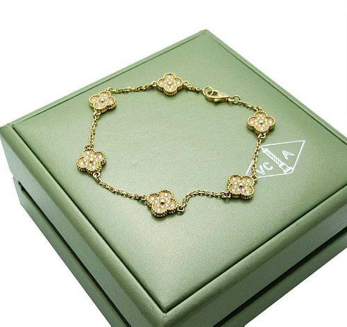 Van Cleef & Arpels 18k Gold 6 Motif Sweet Alhambra