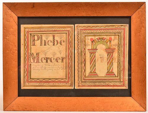Fraktur Bookplates Inscribed for Phebe Mercer.