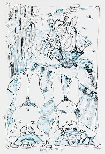 Landertinger, Erika EssKunstSammlung. Mit 17 num. u. sign. OFarblithografien (davon 16 lose u. 1 als Titelblatt auf dem Innendeckel der Kassette monti
