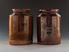 2 Redware Jars with Manganese Decoration
