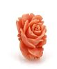 Estate 14k Yellow Gold Carved Coral Long Rose Ring