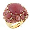 Cabochon Pink Sapphire Gold and Diamond Ring Giova
