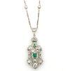 Estate Diamond Emerald Platinum Filigree Necklace
