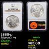 NGC 1888-p Morgan Dollar $1 Graded ms62 By NGC